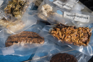 Vacuum sealed astronaut food packages on display