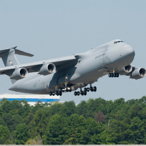 The 12th upgraded C-5M Super Galaxy for the U.S. Air Force takes off from JBA.