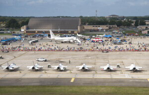 Event attendees gather for the final day of the 2017 Andrews Air Show
